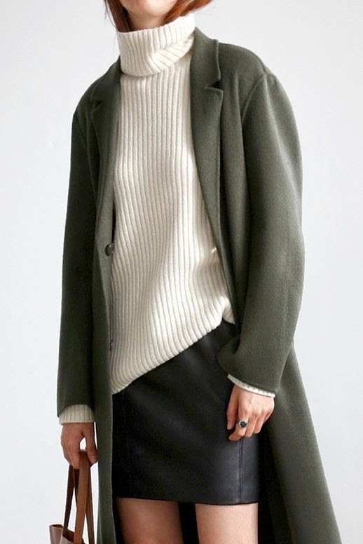 Le Fashion Blog Longline Coat White Ribbed Turtleneck Sweater Leather Skirt Brown Tote Via Flat 80