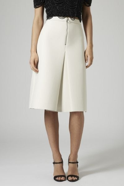 Topshop Inverted Pleated Zip Skirt