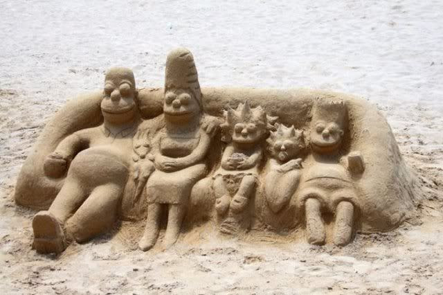 Simpsons sand sculpture Pictures, Images and Photos