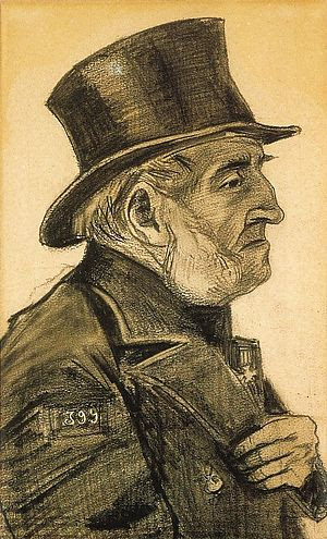 A profile portrait of an elderly man with prominent white whiskers wearing a top hat.