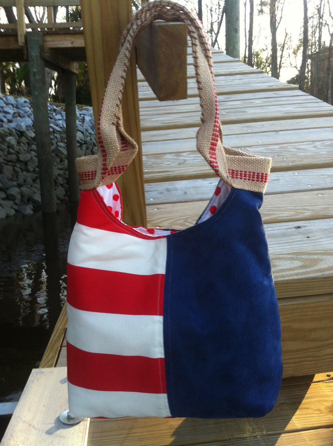 Shoulder bag, tote bag, beach bag, weekender, carry on in patriotic colors.  Your Purchase Gives Hope. REDUCED