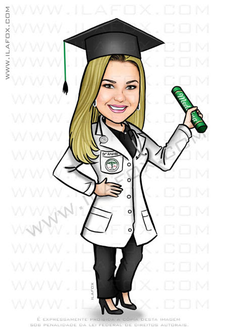 Caricatura formanda, formatura medicina, caricatura clássica by ila fox
