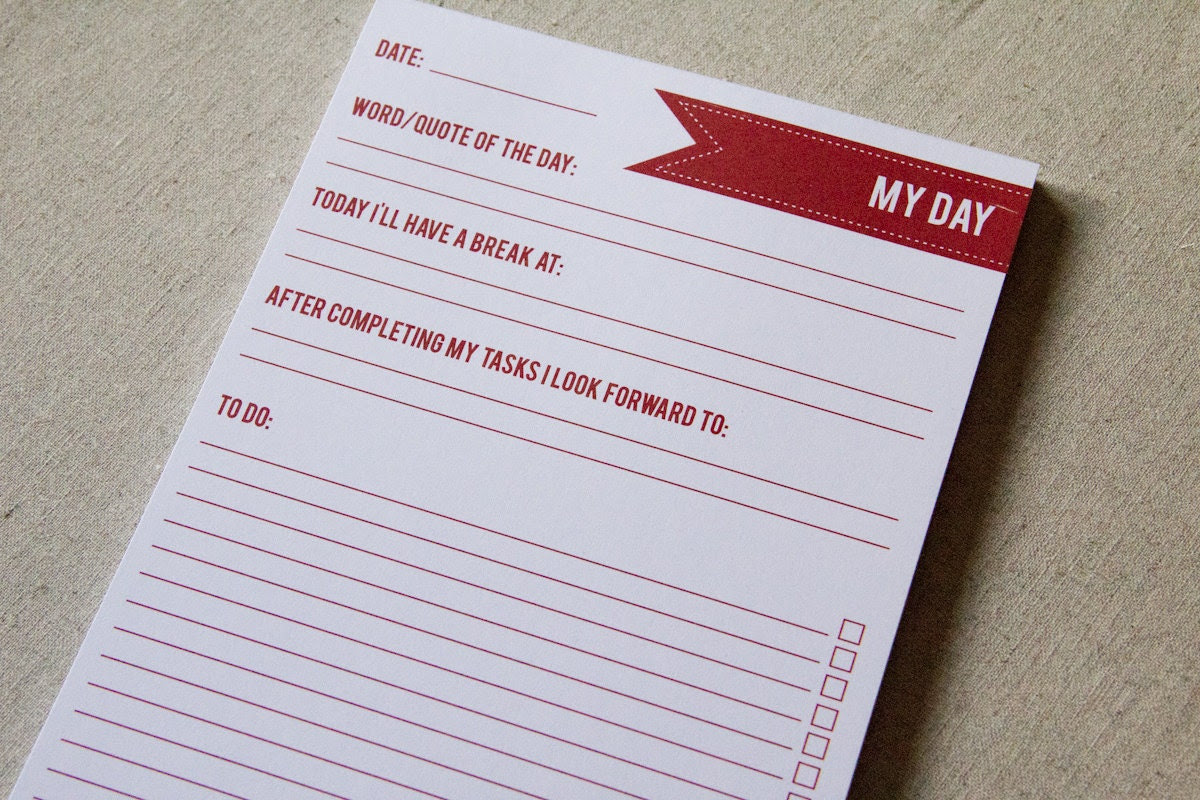 Items similar to A5 day planner notepad - 50 pages on Etsy