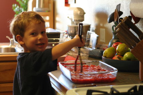 Strawberry jam making