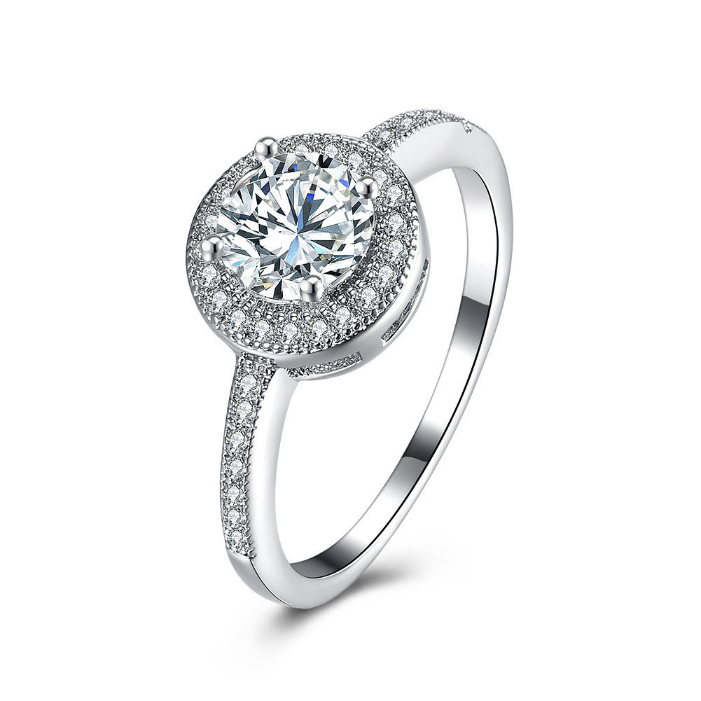 Simple Wedding Ring Circle Platinum Zircon Women Ring