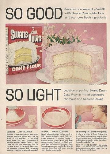 Vintage Ads Swans Down Cake Flour 1950s