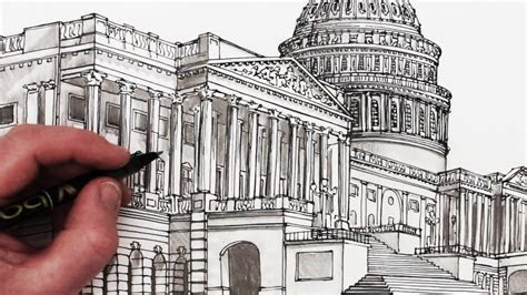 draw   capitol building time lapse drawing
