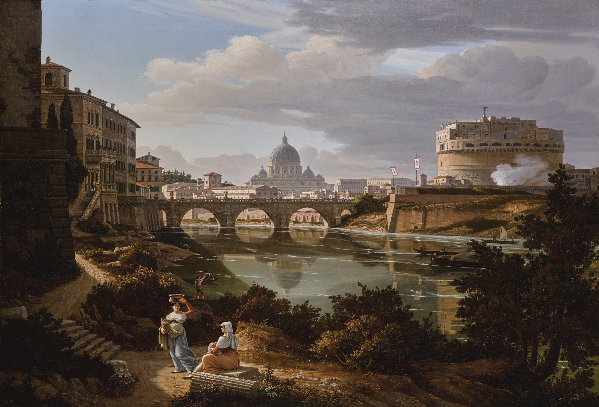 File:Rome, a view of the river Tiber looking south with the Castel Sant'Angelo and Saint Peter's Basilica beyond by Rudolf Wiegmann 1834.jpg