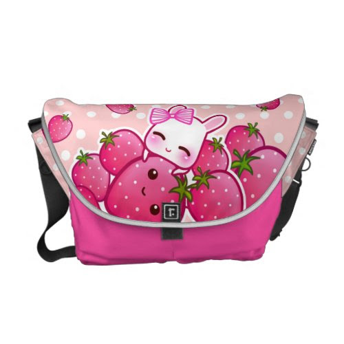Cute bunny with kawaii strawberries rickshaw_messengerbag