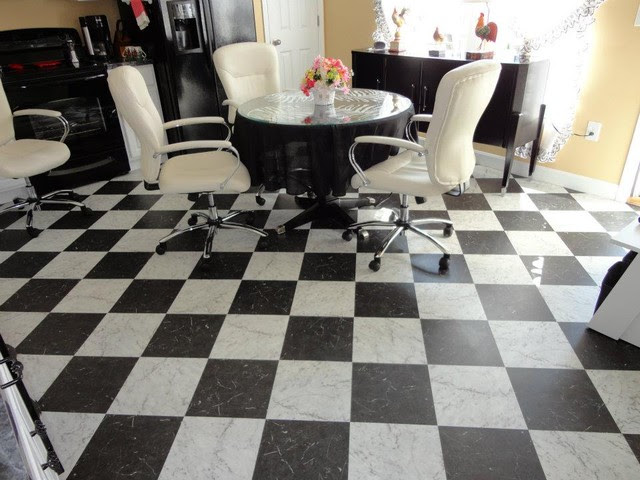 Retro Black & White Kitchen Floor - Vinyl Flooring ...