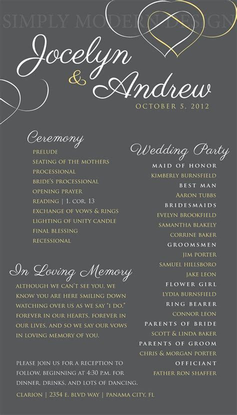 wedding ceremony program, hearts, wedding signage