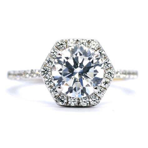 Unique Hexagon Shaped Halo Diamond Engagement Ring Setting