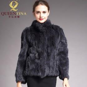 2019 High Quality Real Fur Coat Fashion Genuine Rabbit Fur Overcoats Elegant Women Winter Outwear S