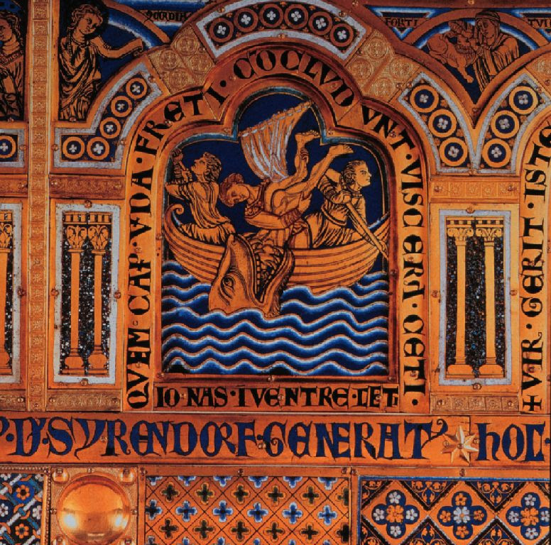 English: Detail of the Verduner altarpiece in Klosterneuburg, Austria by Nicholas of Verdun. Jonah in the whale. sub legem. champlevé enamel.