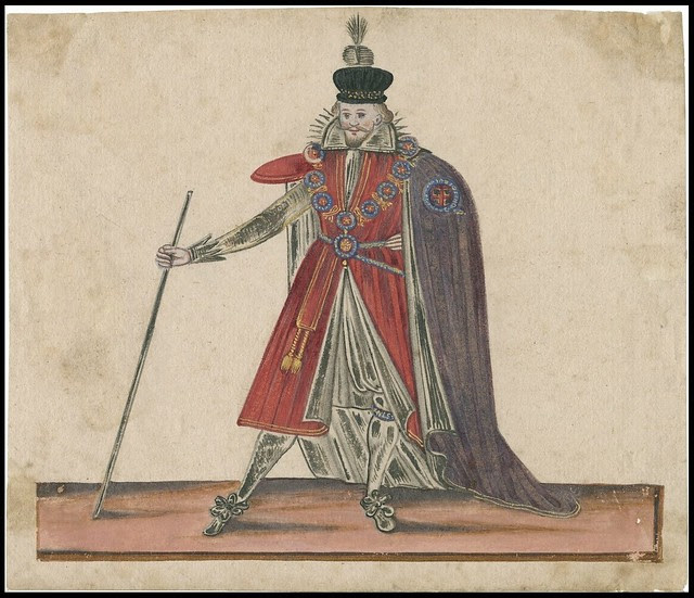 prince or duke posing exaggeratedly in his fineries, stick or sceptre in hand