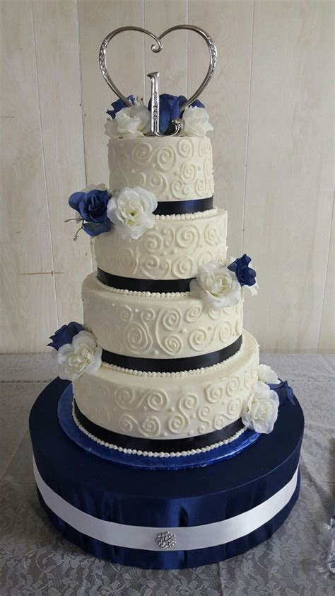 Navy blue and white wedding cake, 6 inch, 8 inch, 10 inch