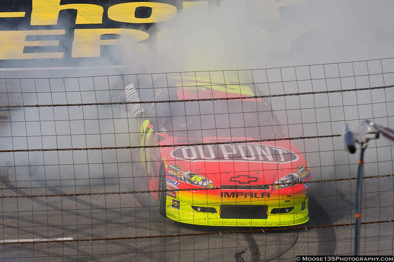 Time to make the donuts. Jeff Gordon celebrates his Pocono win.