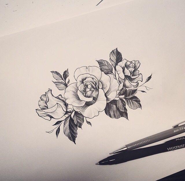 Simple Grey Flower Tattoos Design