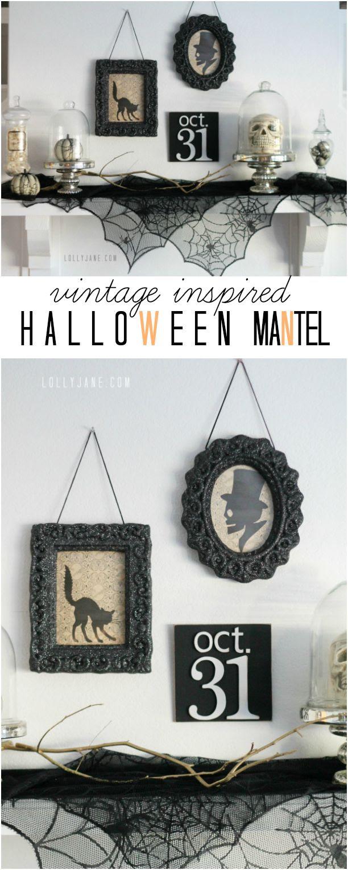 Vintage inspired Halloween mantel | lollyjane.com