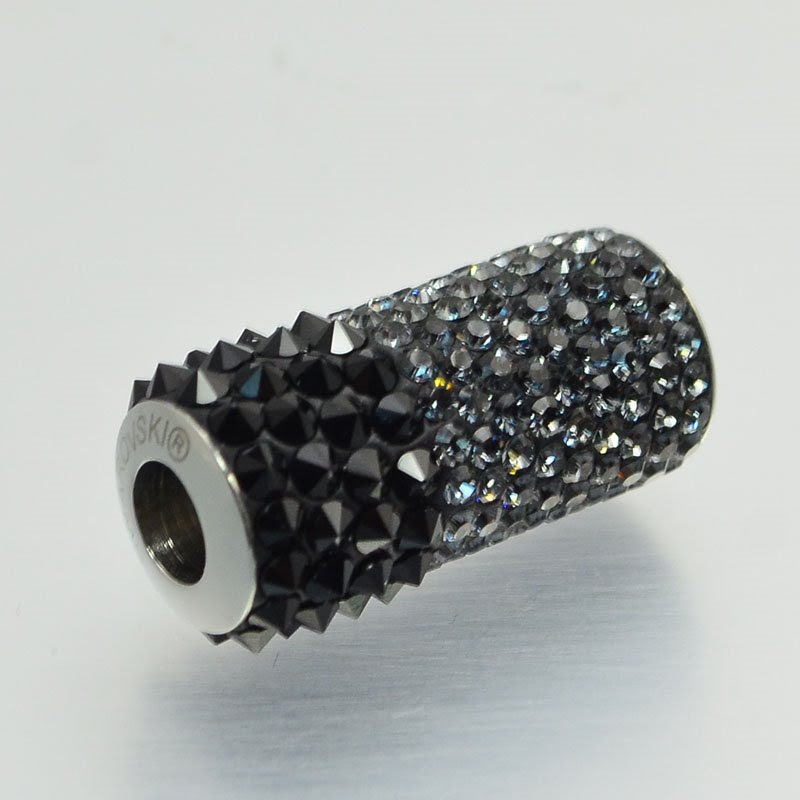 277200-002 Swarovski Bead -  Becharmed Spiked Column (80912) - Crystal Silver Night/Jet