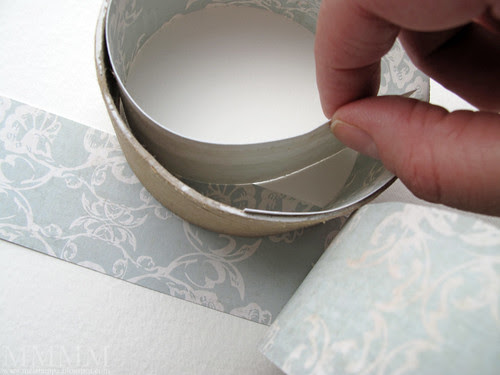 Step 13) Stick another strip of patterned paper on the inside of the top ring