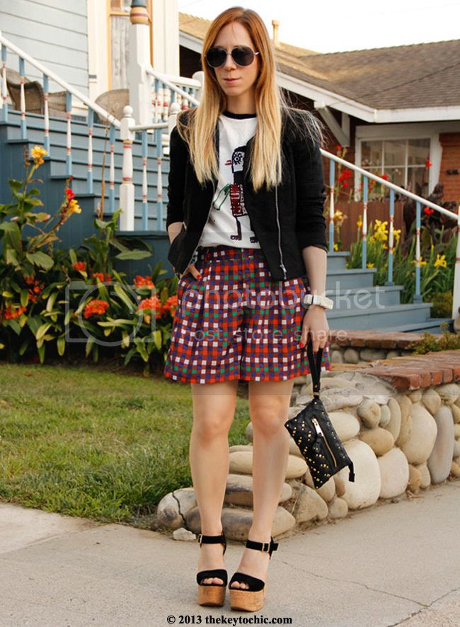 Duro Olowu for JCPenney plaid shorts, Marni at H&M T-shirt, Los Angeles fashion blog, Luichiny Ver Mont heels, H&M tweed blazer