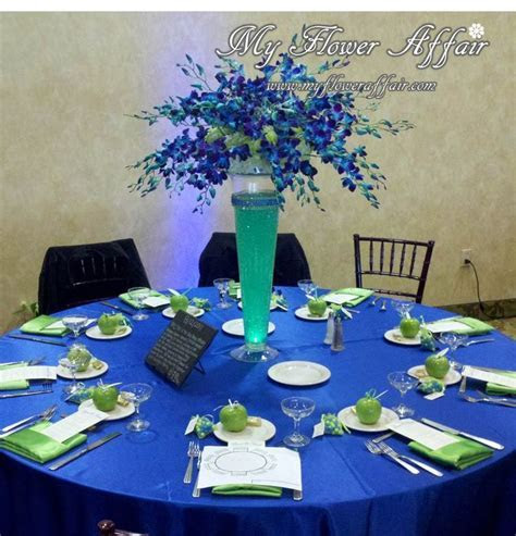 cobalt blue and lime green Wedding flowers and custom
