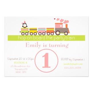 1st Birthday Girly Train Invitation