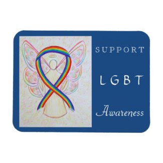 LGBT Rainbow Awareness Ribbon Angel Magnet