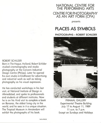 folder Places as Symbols exhibition in the NCPA of Bombay (Mumbai) INDIA in 1989