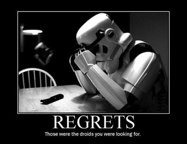 This stormtrooper doesn't realize that it was an old Jedi Knight who was responsible for his poor decision-making.
