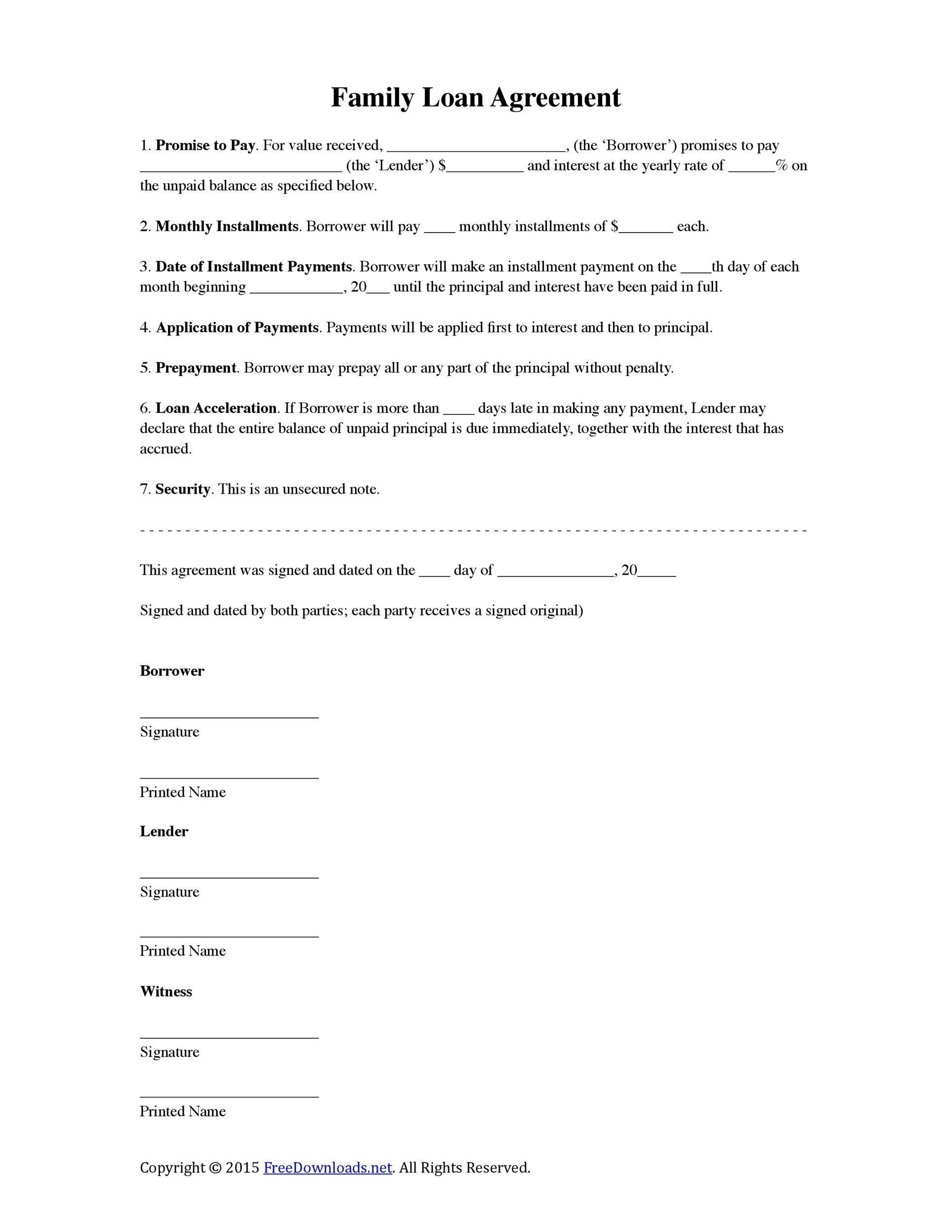 Installment Loan Agreement Template Pdf Template