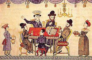 Jews Celebrating Passover. Ukrainian lubok, XI...