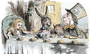 The Mad Hatter's Teaparty from Lewis Carroll's Alice in Wonderland. The hacker group compare Russian politics to the surreal tale.