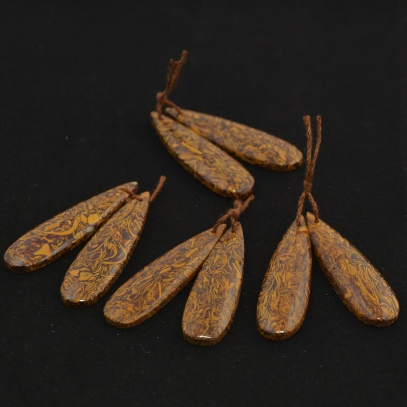 s44129 Stone - 12 x 45 mm Long Drop Pendant - Brown Leaf Jasper (Pair)