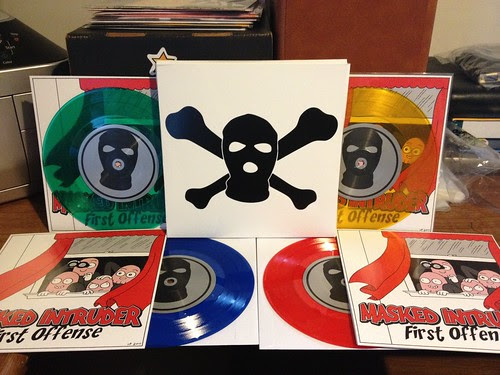 "Masked Intruder - First Offense 7"" - 4 colors of vinyl & screened box by Tim PopKid"