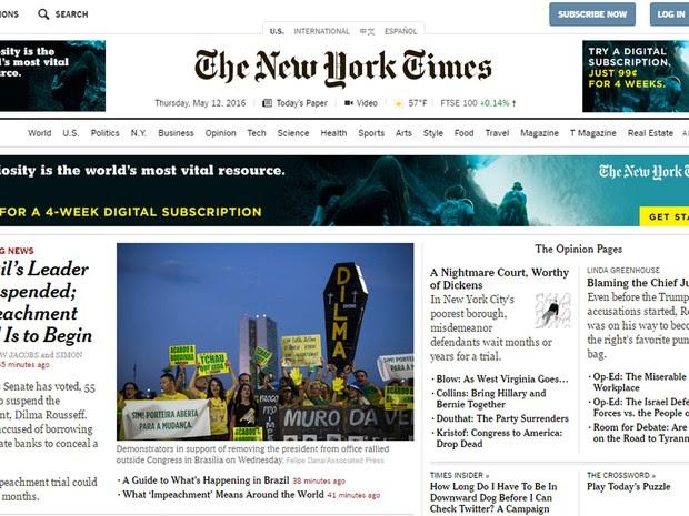 The New York Times diz que Dilma foi alvo da raiva da população contra a corrupção sistêmica e a crise econômica (Foto: Reprodução/G1)