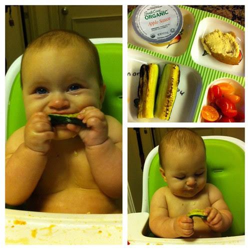 #munchkinmeals waffle w/ hummus, grilled zucchini, cherry tomatoes, applesauce #babyledweaning