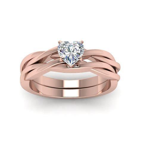 Simple Vine Solitaire Bridal Ring Set   Rose Gold