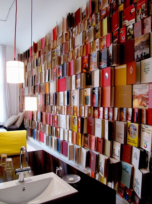 Book wall - would have to use foreign language books to avoid wanting to read them.