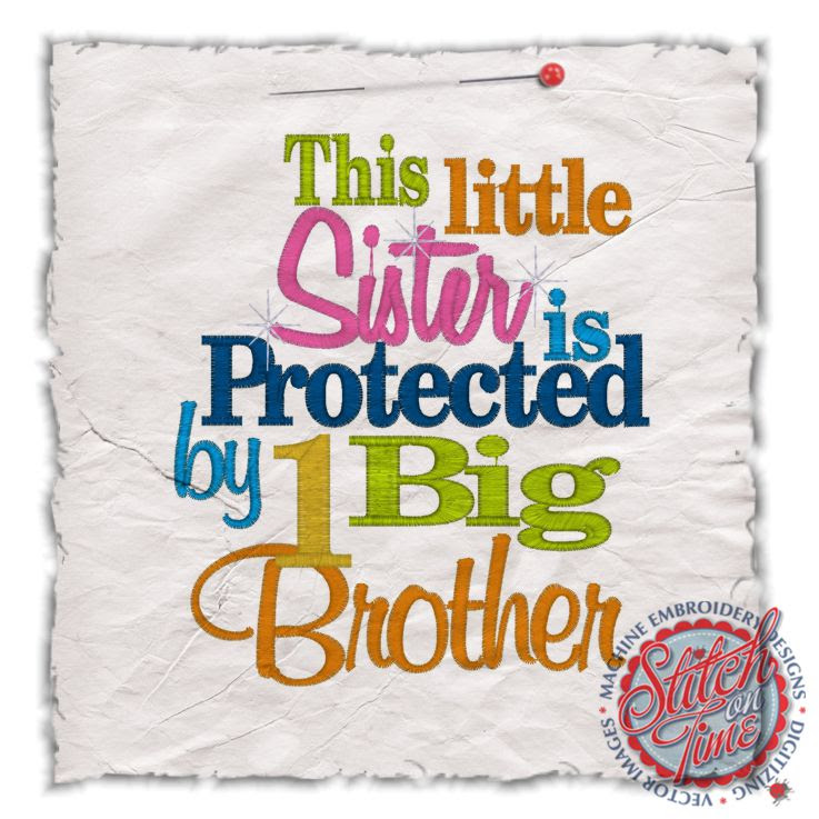 Sayings 4402 Little Sister Protected By 1 Big Brother 5x7