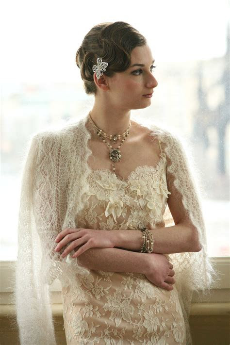 bridal shawl   A Chic Vintage Fairytale Wedding in Winter
