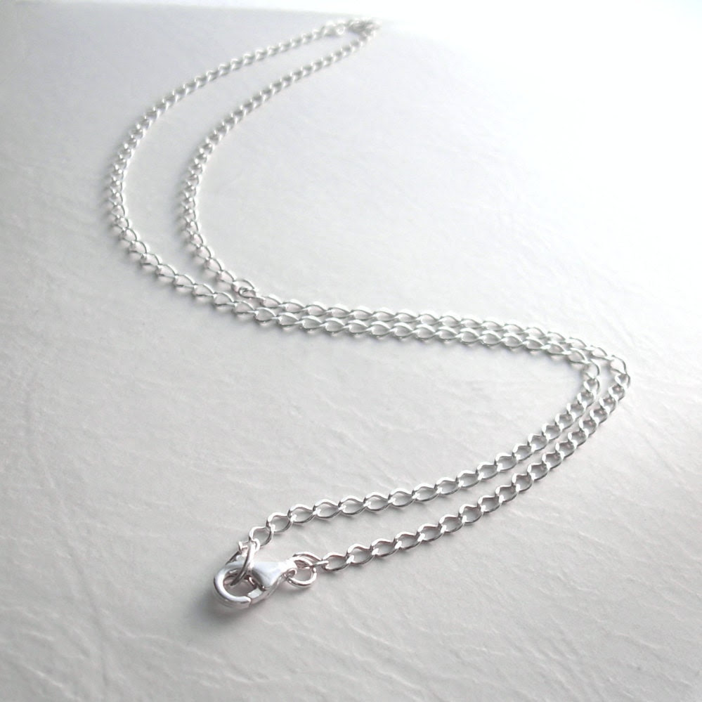 Sterling Silver Chain, 18 inch, Semi Twisted Oval Links - cindylouwho2