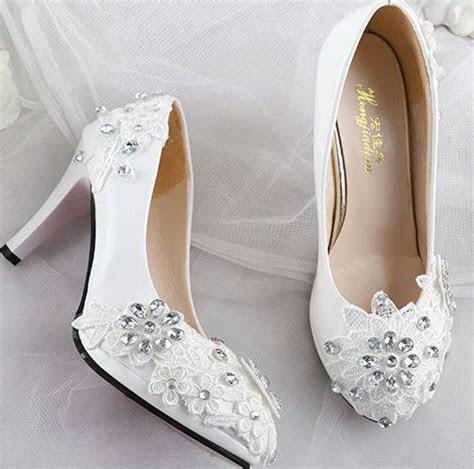 Lace rhinestones wedding shoes for women white fashion