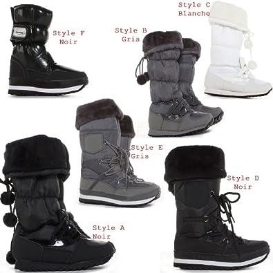 bottes de neige pluie fourr es caoutchouc apres ski femme. Black Bedroom Furniture Sets. Home Design Ideas