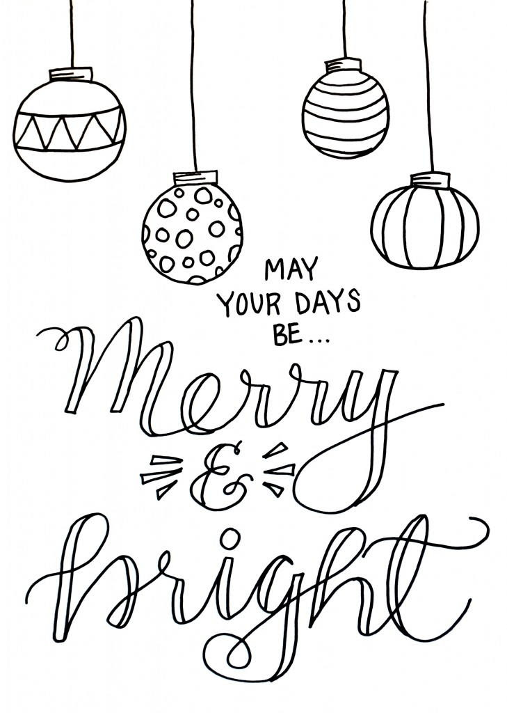 Merry and Bright Christmas Coloring Page ...