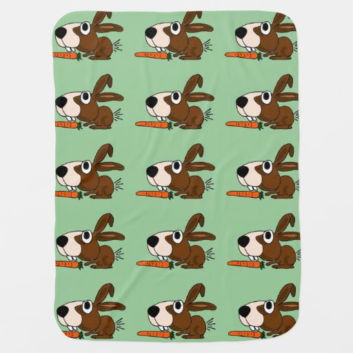 Cute Bunny Rabbit with Carrot Baby Blanket from Zazzle.