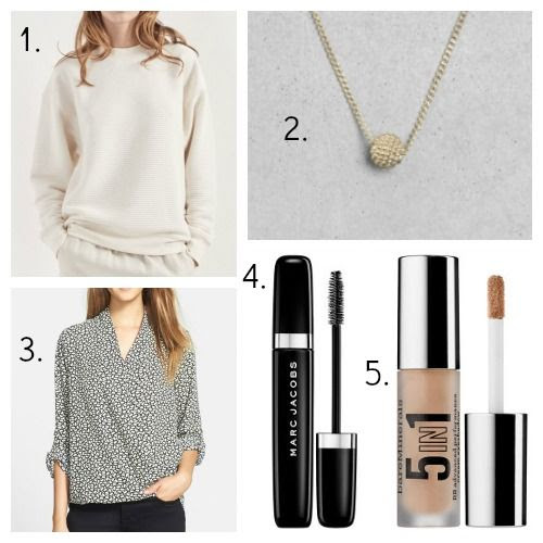 Rag and Bone Sweatshirt - And Other Stories Necklace - Pleione Blouse - Marc Jacobs Mascara - bareMinerals Eyeshadow