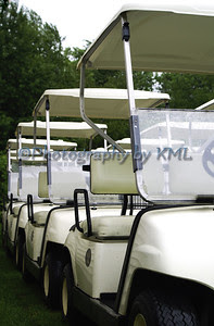 golf carts all lined up in a row