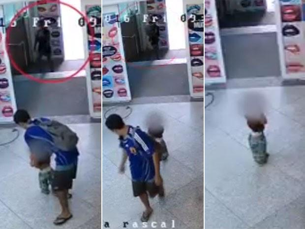 Vídeo mostra criança sendo abandonada no Shopping Rio Sul (Foto: Reprodução / Globo)